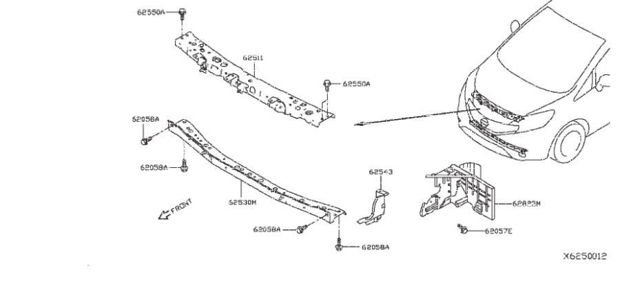 Nissan Versa Note Radiator Support Air Deflector (Left