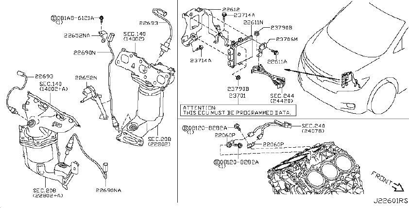 Nissan Quest Oxygen Sensor Bracket. MODULE, ENGINE