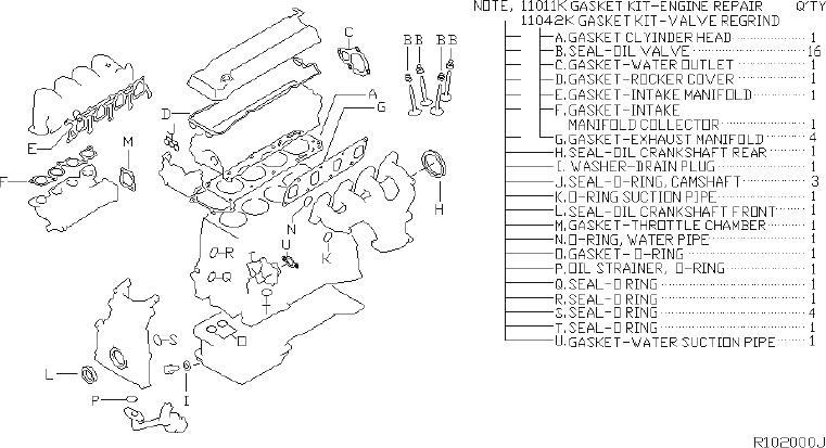 Nissan Altima Engine Cylinder Head Gasket Set. KIT, VALVE