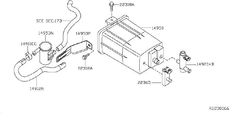 Nissan Altima Hose Fuel Evaporation Control. PIPING