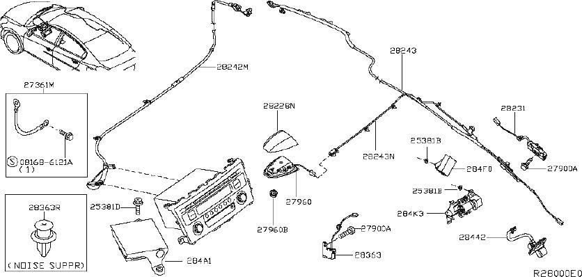 Nissan Altima Audio Auxiliary Jack. UNIT, ANTENNA, CAMERA