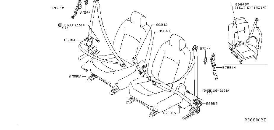 Nissan Altima Seat Belt Lap And Shoulder Belt (Right