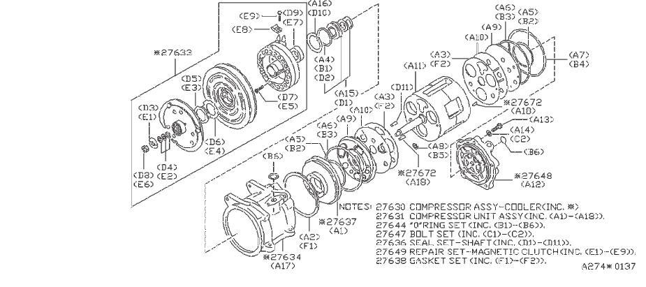Nissan Pulsar NX Bolt Set Compressor. Set Body Valve. AIR