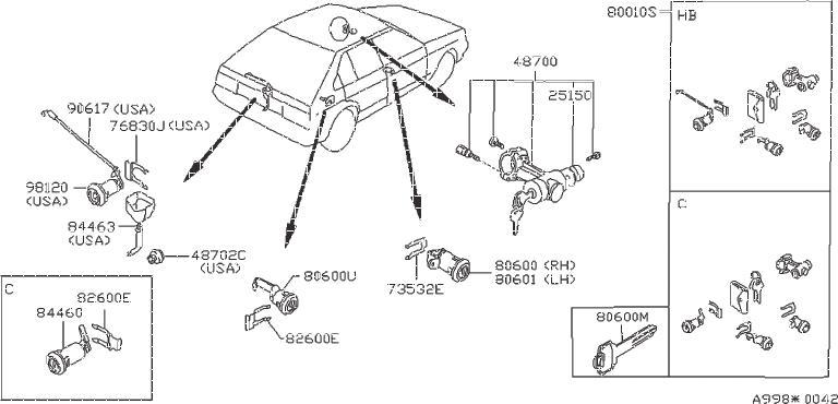 Nissan Pulsar NX Clip Retaining, Cylinder Lock. DOOR