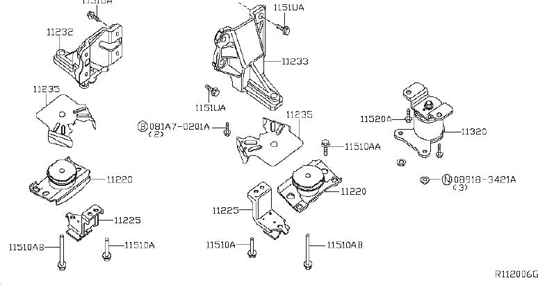 Nissan Xterra Automatic Transmission Mount (Rear). BED