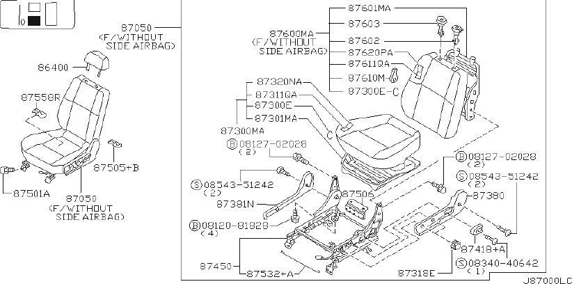 Nissan Pathfinder Seat Back Frame (Front). MANUAL, Trim