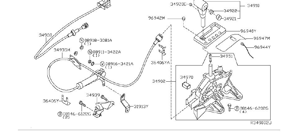Nissan Pathfinder Automatic Transmission Shifter Cable