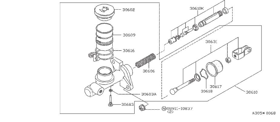 Nissan 200SX Clutch Master Cylinder Repair Kit. NABCO