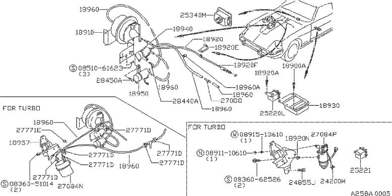 Nissan 280ZX Clip Wiring Harness. Retainer Boot. (Upper