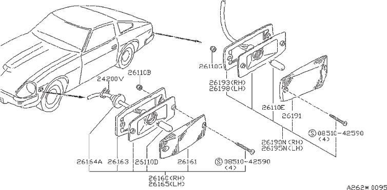 Nissan 280ZX Clamp Antenna Cord. Clip Gas Filler Opener