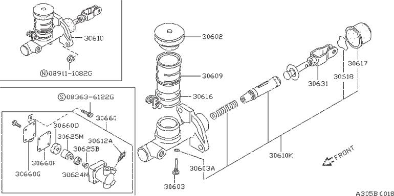 Nissan 240SX Clutch Master Cylinder Repair Kit. NABCO