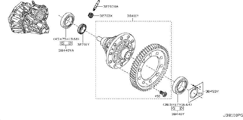 Nissan Versa Manual Transmission Differential Bearing