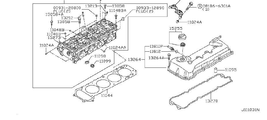 Nissan Rogue Engine Cylinder Head Bolt. ASSEMBLY