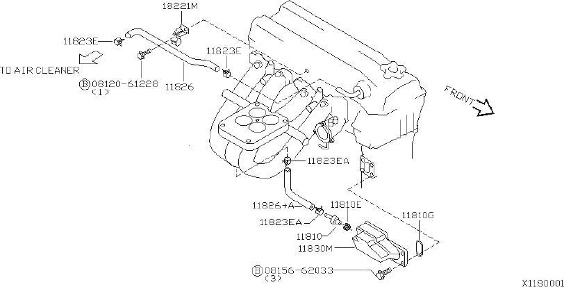 Nissan Xterra Pcv Valve Grommet. COMPONENT, ASSEMBLY