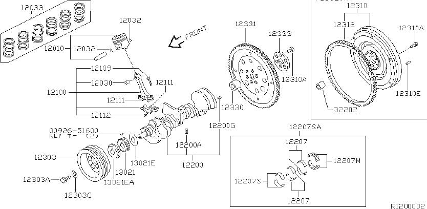 Nissan Xterra Ring Snap, Piston Pin. ILLUSTRATION, BEARING
