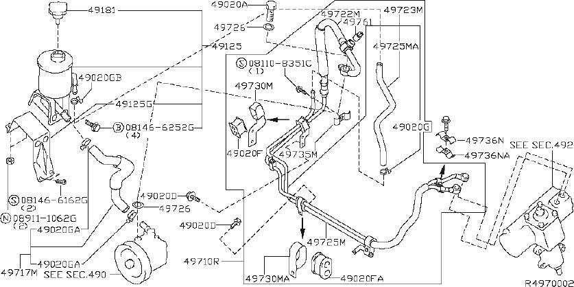 Nissan Xterra Service File Hose Return, Power Steering