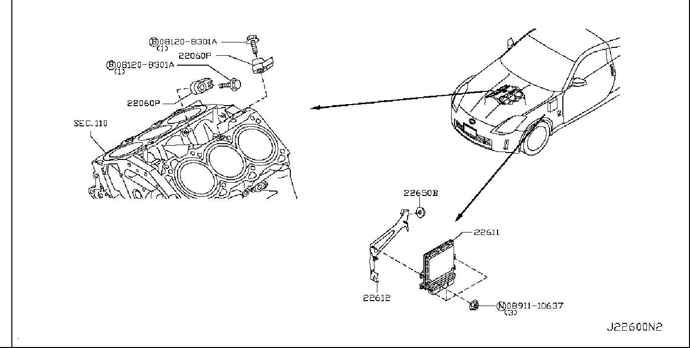 Nissan 350Z Heated Oxygen Sensor Bracket. MODULE, ENGINE
