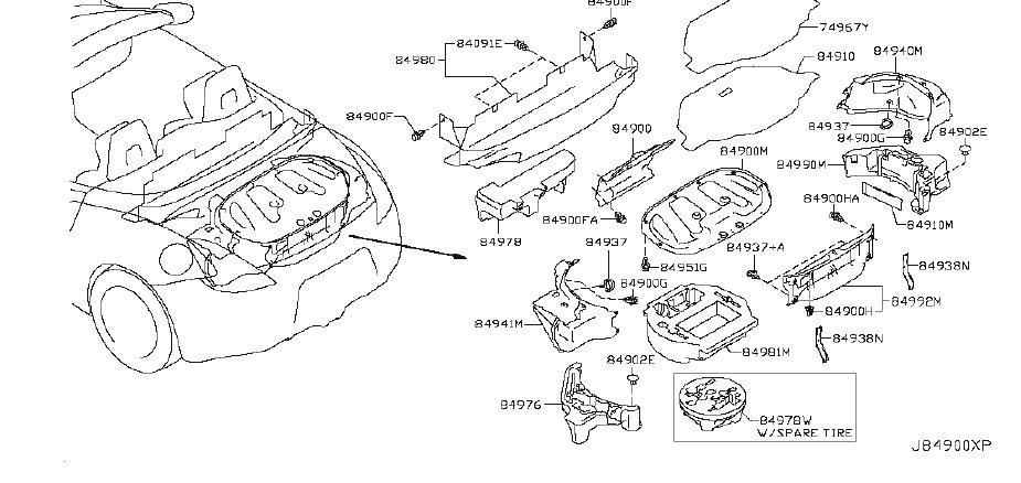 Nissan 370Z Trunk Floor Storage Box. TIRE, SPARE