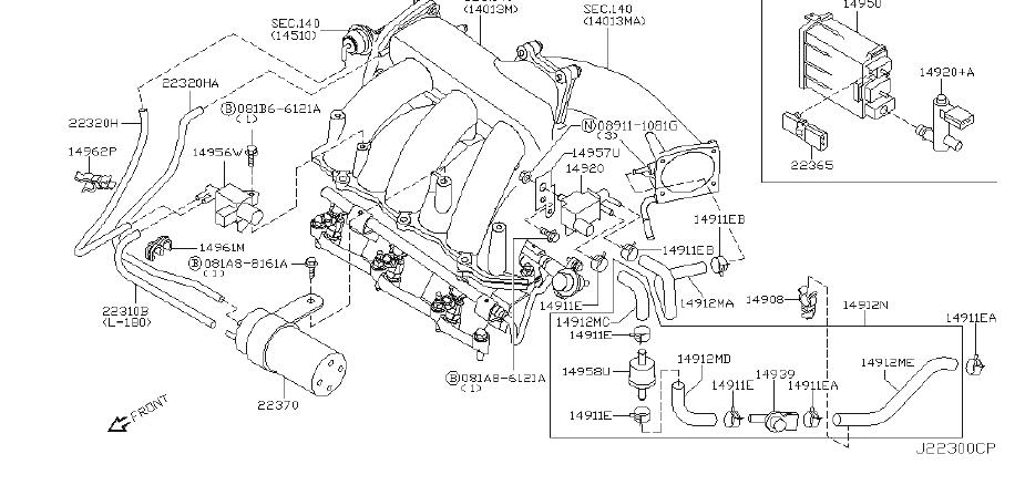 Nissan Murano Hose Vacuum Control, B. REAR, CANISTER