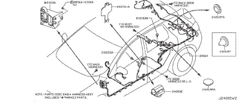 Nissan Murano Engine Wiring Harness. BODY, DOOR, FITTING
