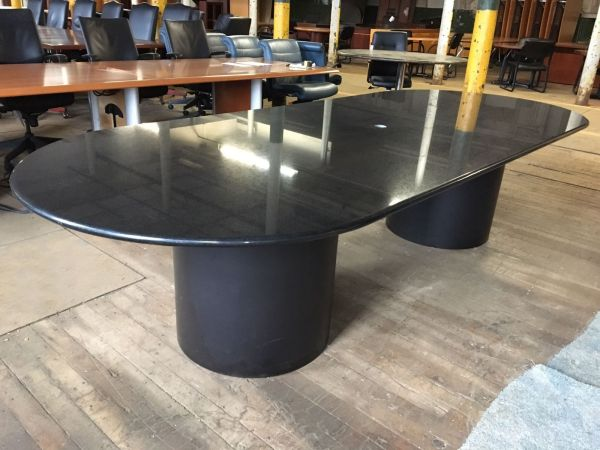 10 Ft Black Granite Oval Conference Table T9596c - Conklin Office Furniture