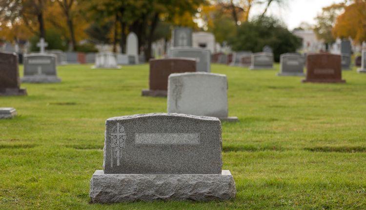 Tombstones in a graveyard.