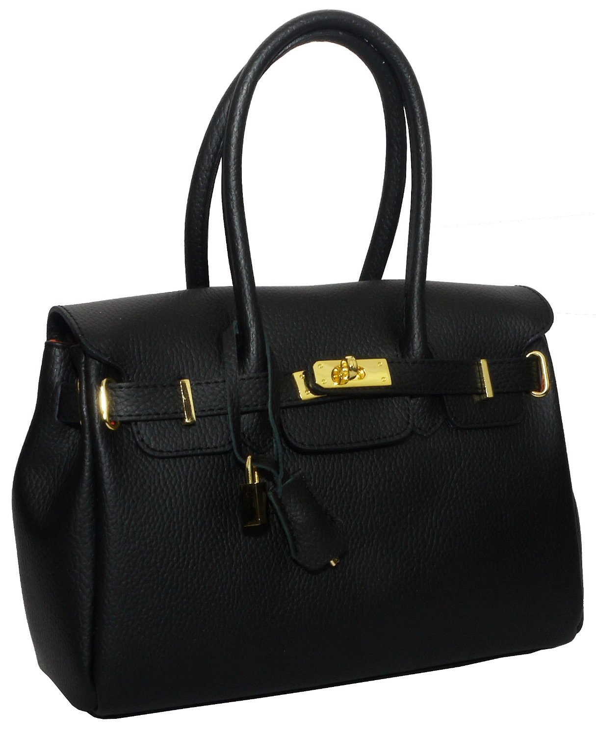 Real Italian Leather Black Hermes Birkin Kelly