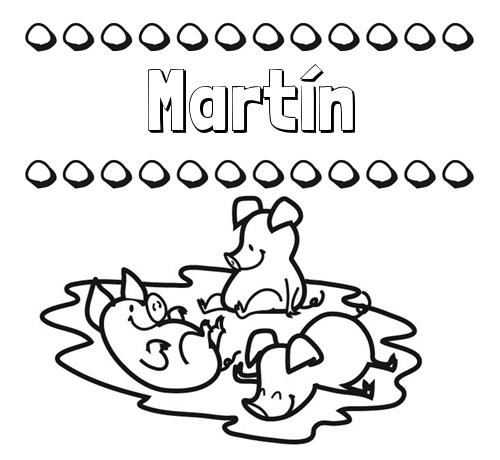 Nombre Martín: Dibujos para colorear: nombres y los tres