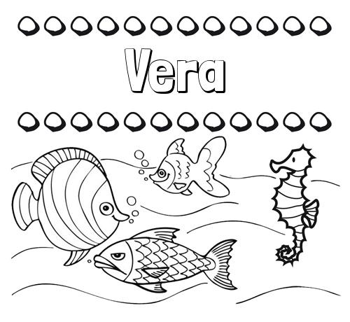 Nombre Vera: Peces: dibujos de nombres para pintar