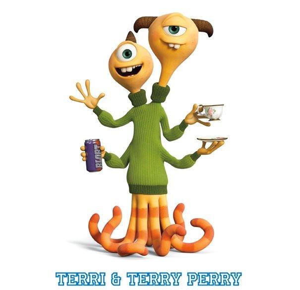 Personajes de la pelcula Monstruos University Terri y Terry