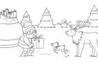 Pap Noel y el reno Rodolfo: dibujo para colorear e imprimir
