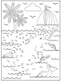 Imprimir: Dibujo de unir puntos de una playa: dibujo para ...