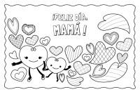 Corazones para el da de la madre: dibujo para colorear e ...