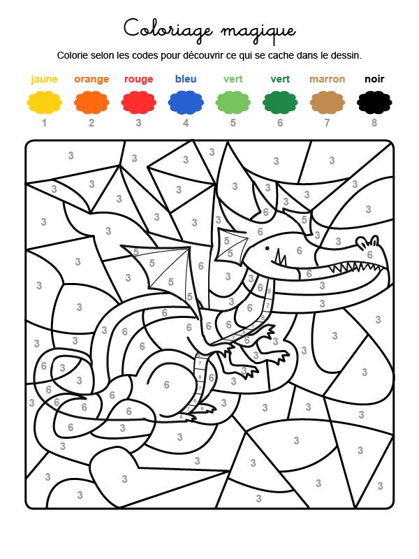 Coloriage magique en français un dragón