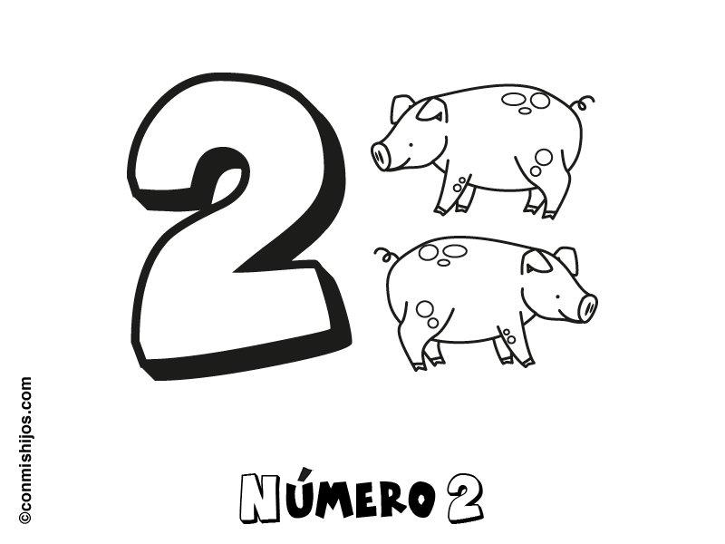 Número 2: Dibujos para colorear