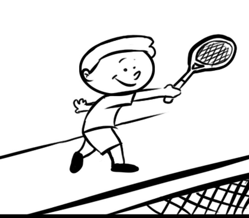 Niño jugando al tenis: Dibujos para colorear