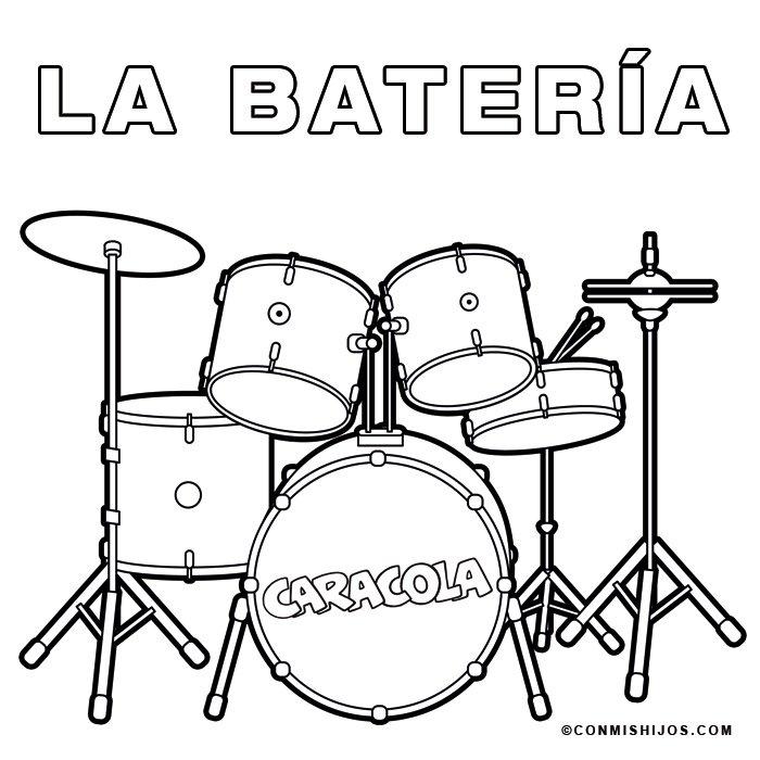 Batería: Dibujos para colorear