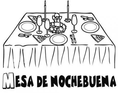 Dibujo de la mesa de Nochebuena para colorear Dibujos de