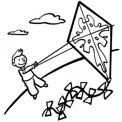 Niño jugando con una cometa: Dibujos para colorear