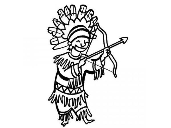 Dibujo de un disfraz de indio para colorear con niños en