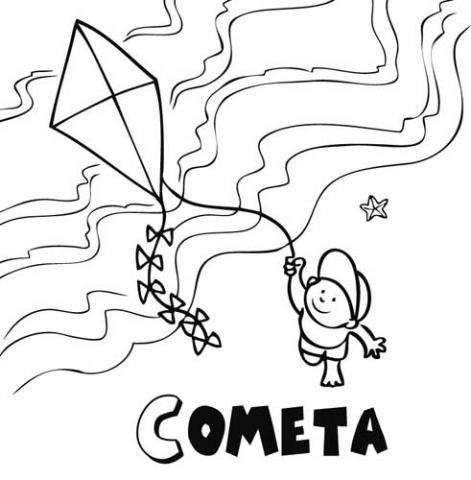 Niño y cometa: Dibujos para colorear