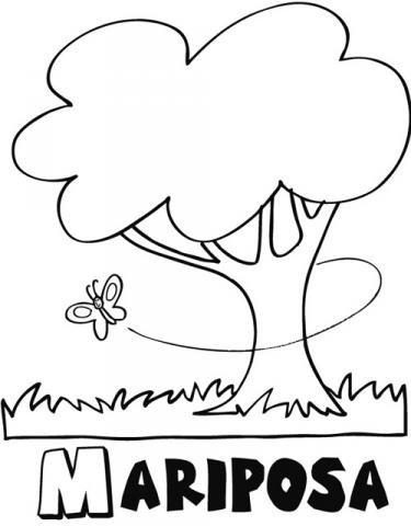Mariposa en el parque: Dibujos para colorear