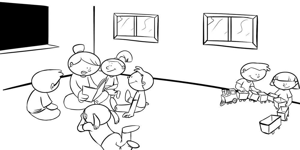Colorear Jardin Infantil Dibujo