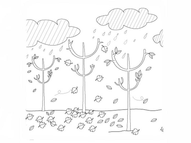 Lluvia en otoño: Dibujos para colorear