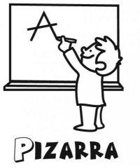 Dibujo de nio en la pizarra del colegio para colorear