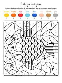 Dibujo mgico de un pez de colores: dibujo para colorear e ...
