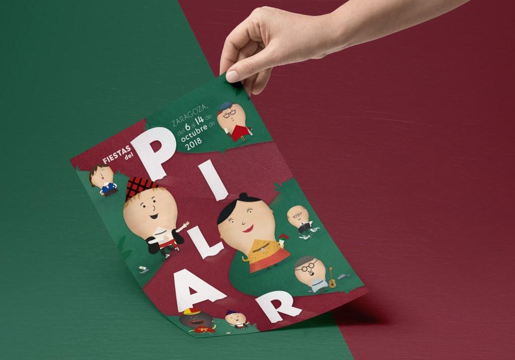 Propuesta de diseño para el cartel Fiestas del Pilar 2018 Zaragoza por Fernando Sanchez - Conmisojos