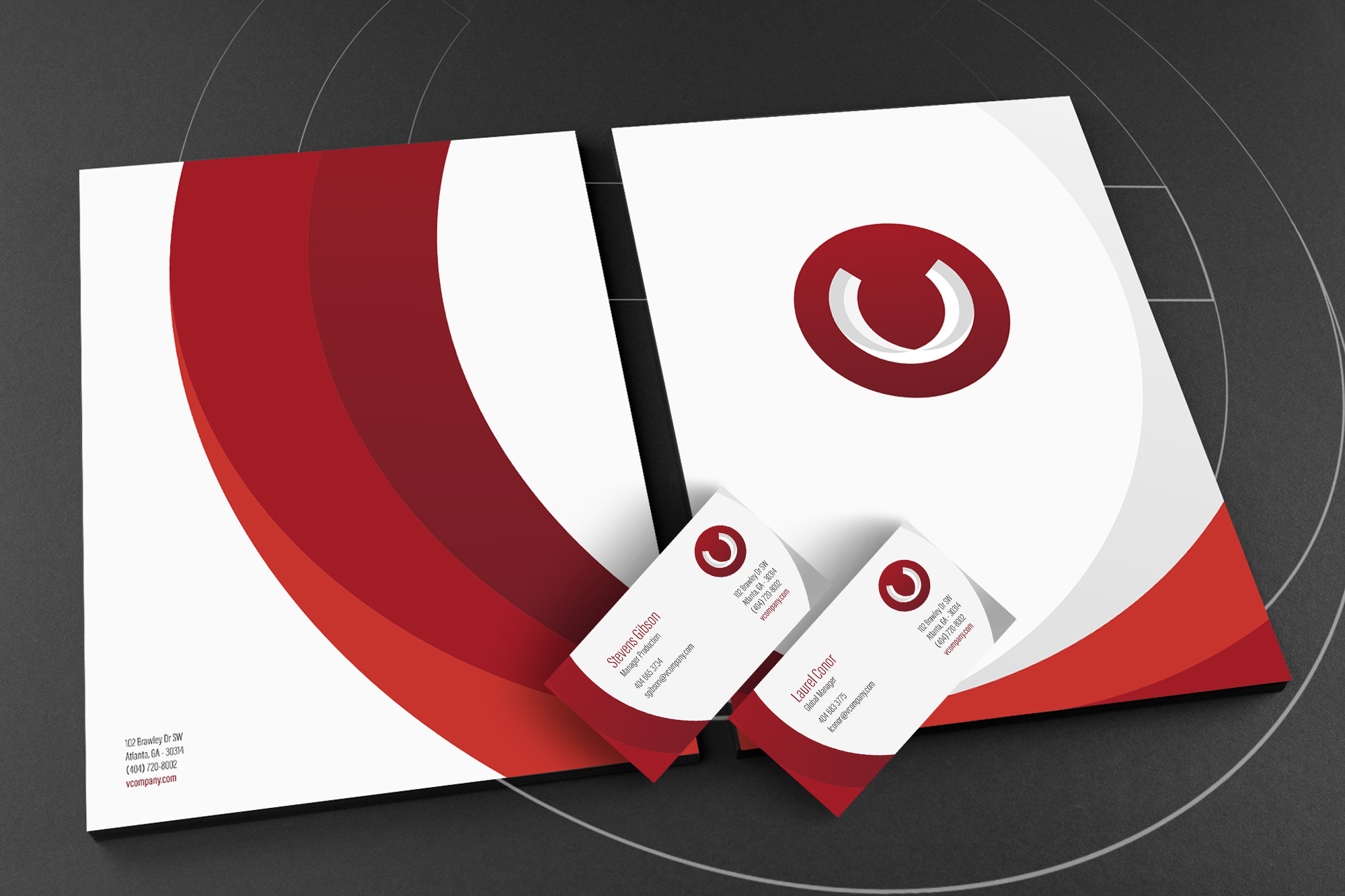 Branding, corporate and visual identity, stationery for company
