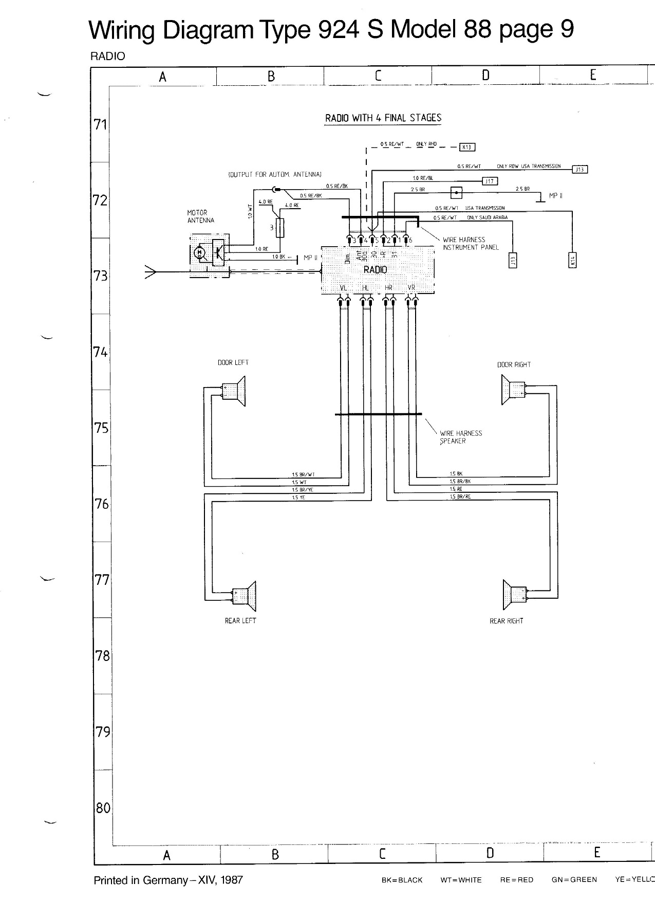 porsche 944 radio wiring diagram g body anyone have 84 pelican parts