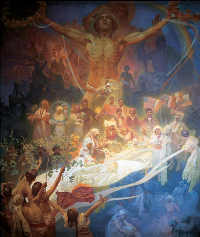 Alfons Mucha, L'Apothéose des slaves, L'Epopée slave, 1926-1928, huile et tempera sur toile, ville de Prague ©Wikimedia Commons